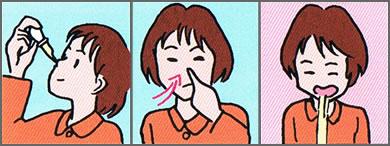 オイルを使って鼻うがいをする方法をご紹介する画像